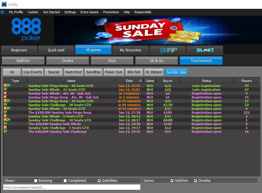 Воскресный турнир Sunday Sale Mega Deep в лобби рума 888poker.